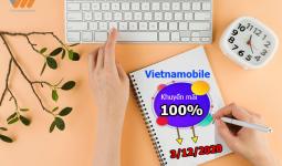 Vietnamobile khuyến mãi 100% thẻ nạp ngày 3/12